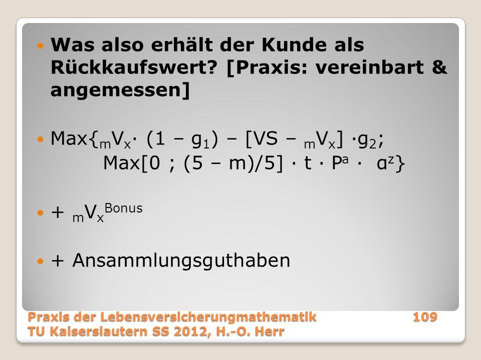 Max{mVx· (1 – g1) – [VS – mVx] ·g2; Max[0 ; (5 – m)/5] · t · Pa · αz}
